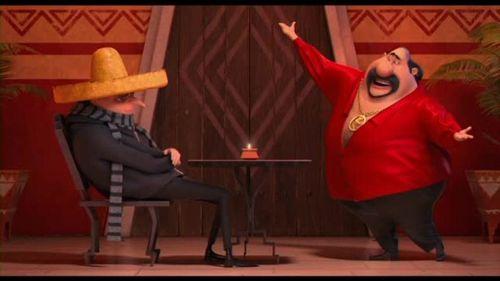 El Macho y Gru con los sombreros de guacamole