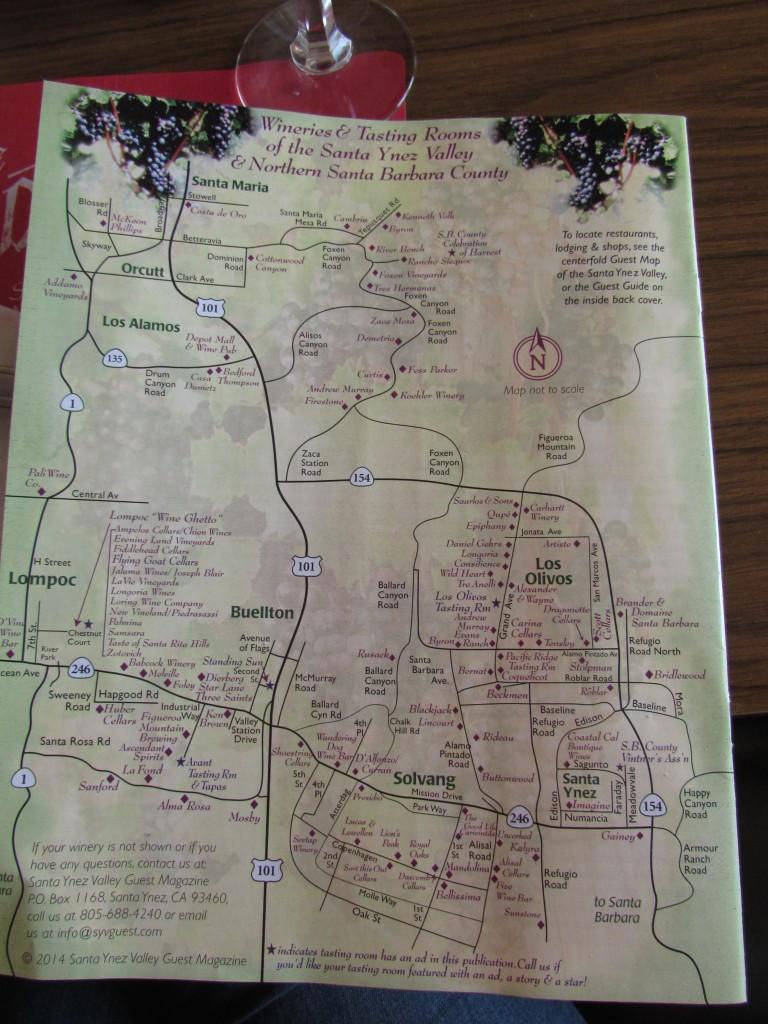 Mapa de Solvang con los diferentes wine tasting